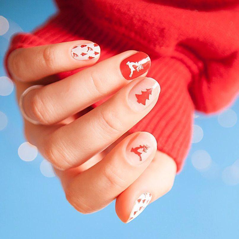 Smalto rosso nude e bianco nail art Natale