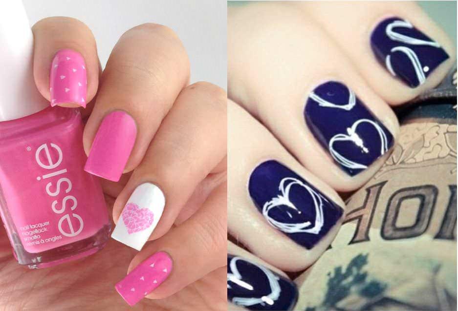 Nail art San Valentino smalto rosa Essie e smalto nero