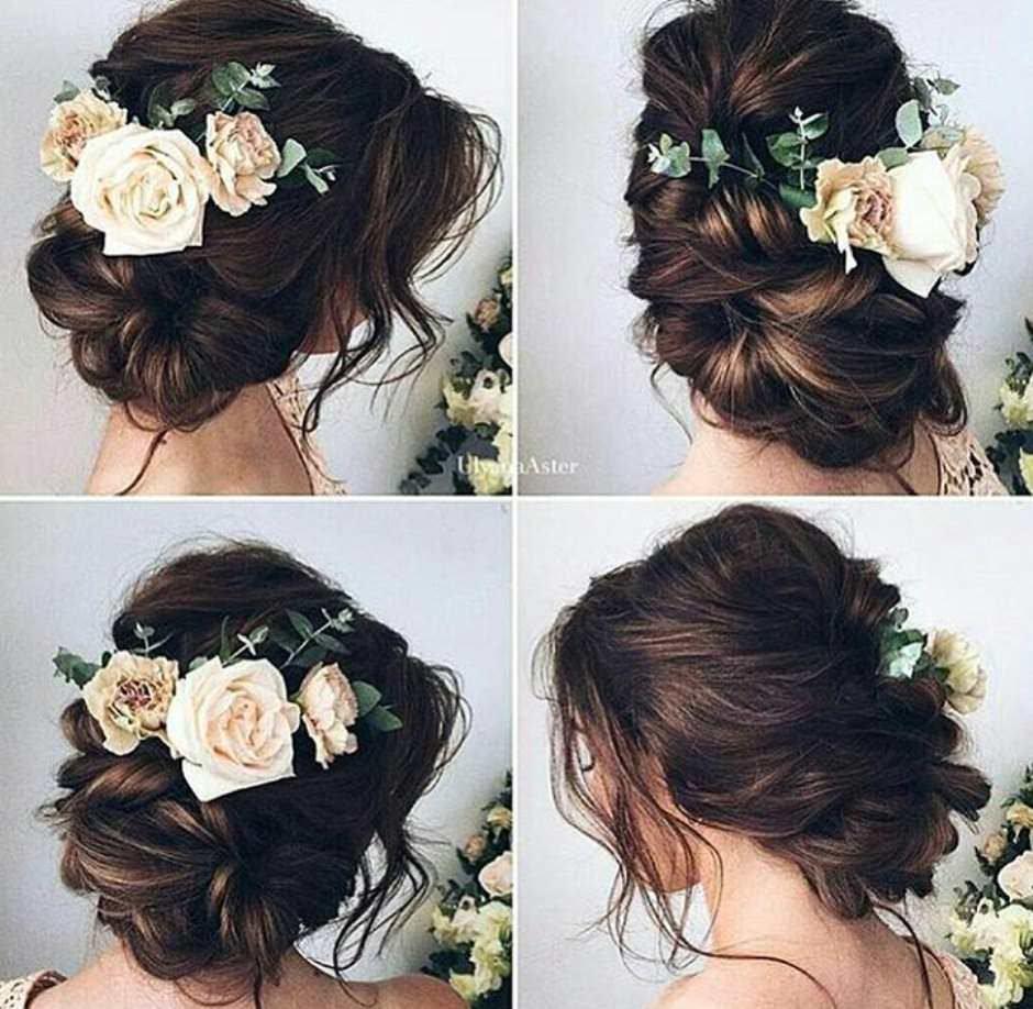 Acconciatura sposa con fiore laterale