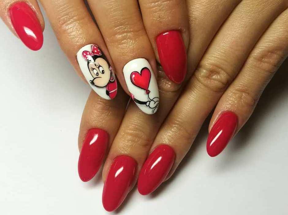 San Valentino unghie gel rosse Minnie