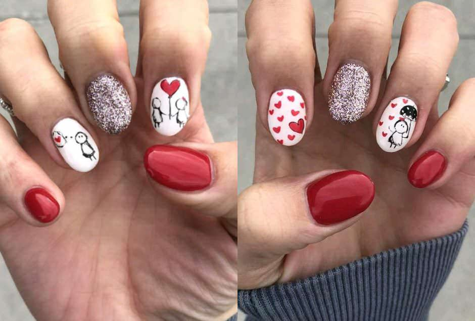 Unghie gel rosse e bianche San valentino nail art