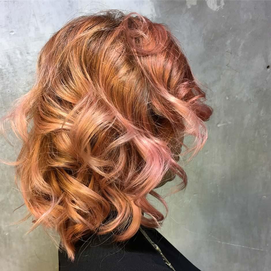 Balayage oro rosa capelli color pesca