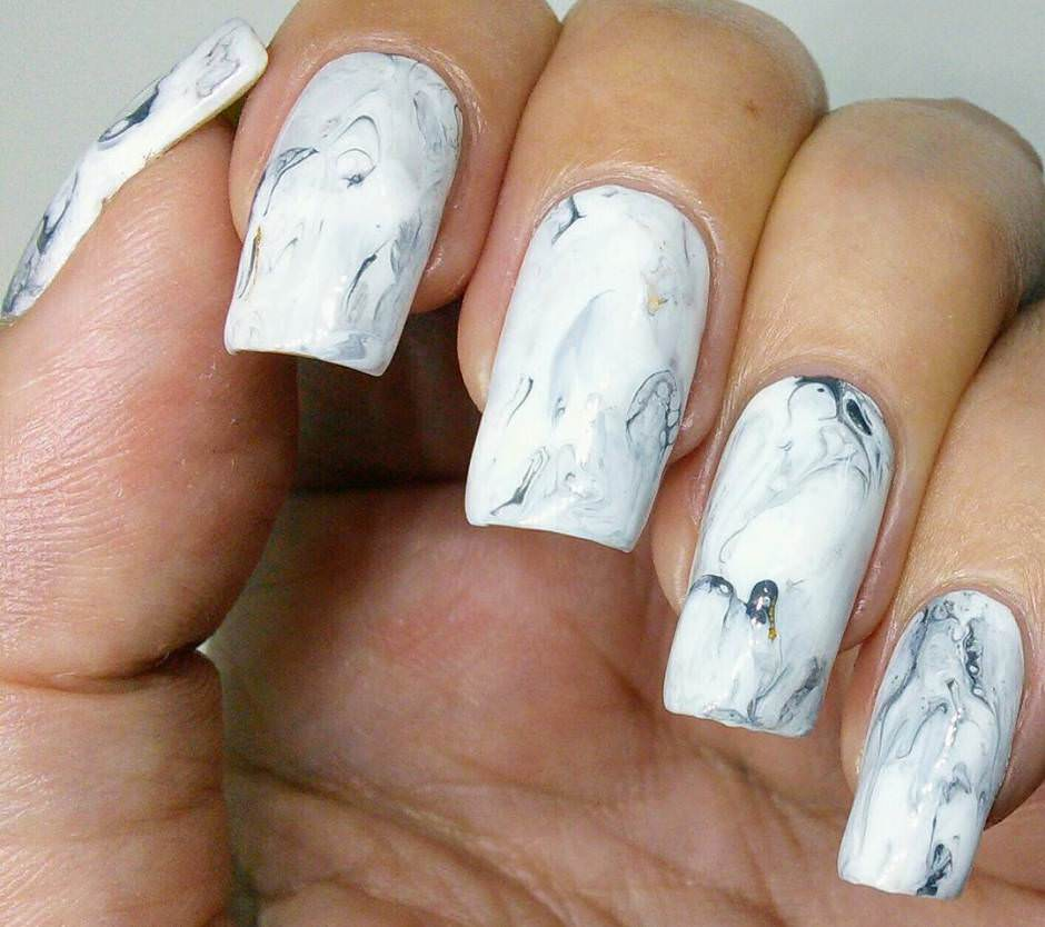 Stone marble nail art unghie squadrate