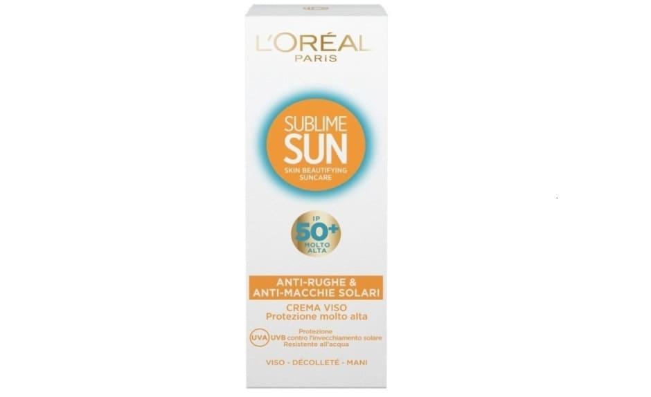 Crema solare viso L'Oreal protezione 50