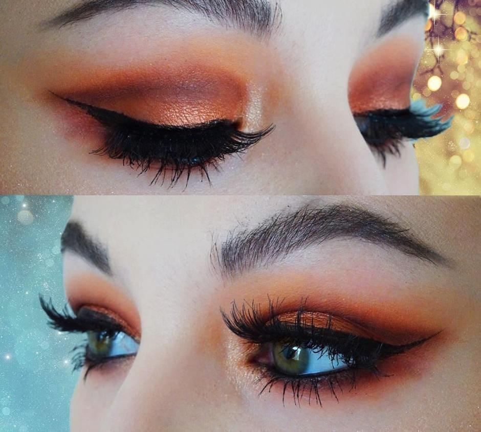 Trucco autunnale eyeliner nero e ombretto rame