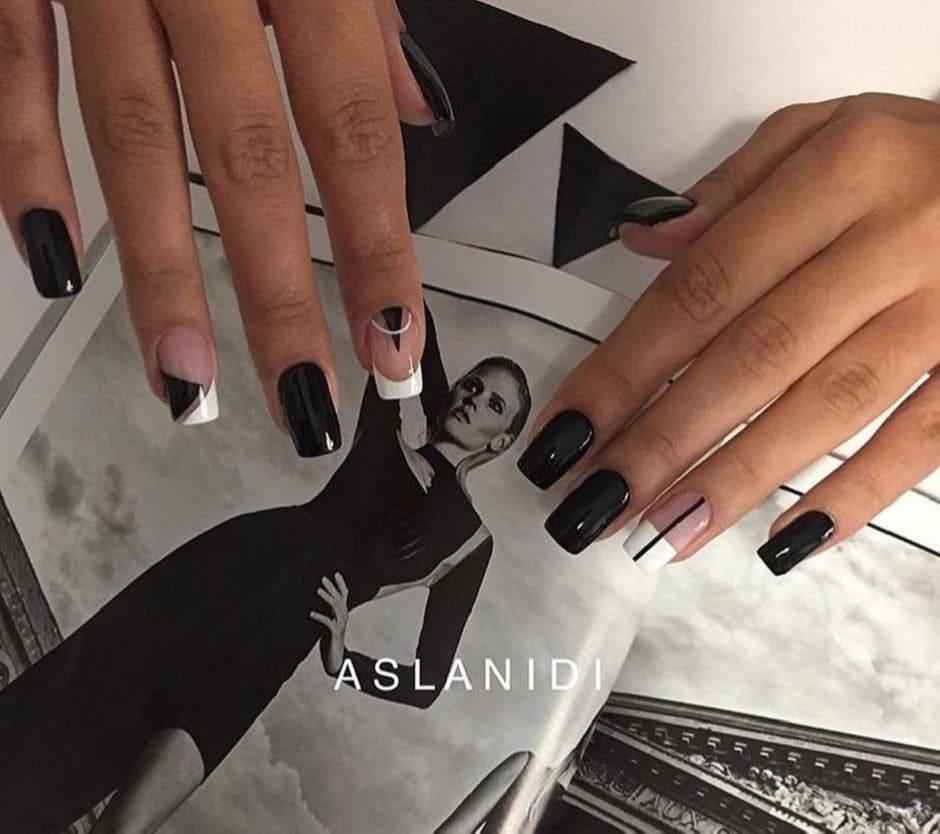 Nail art geometriche Inverno 2018 bianco e nero