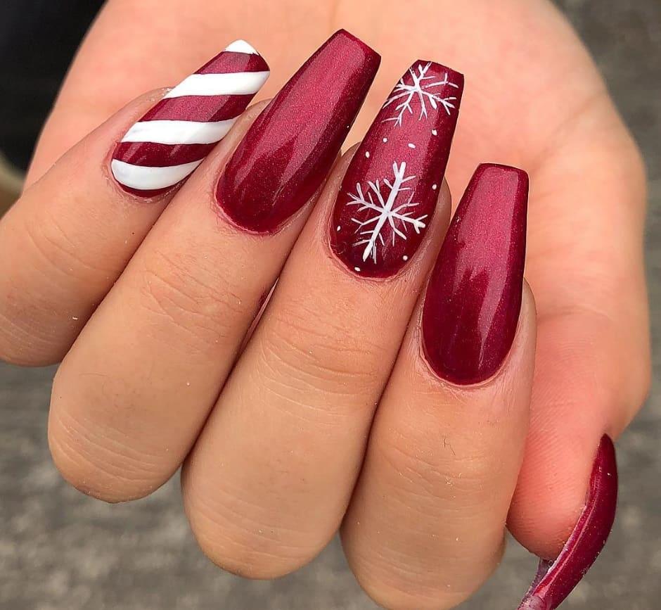 Unghie gel natalizie 2018 rosse argento e bianche