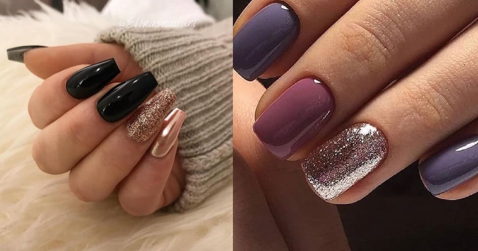 Glitter nail art unghie Natale 2018
