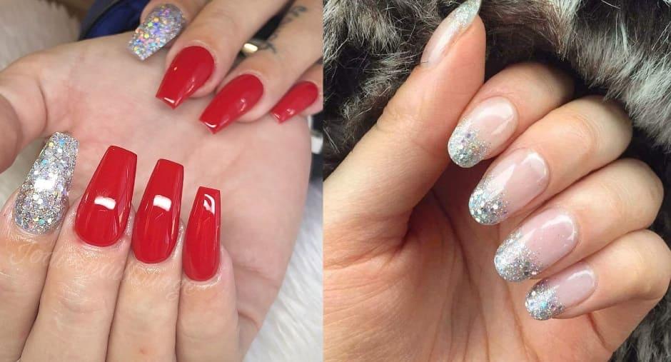 Unghie Natale 2018 nail art con glitter