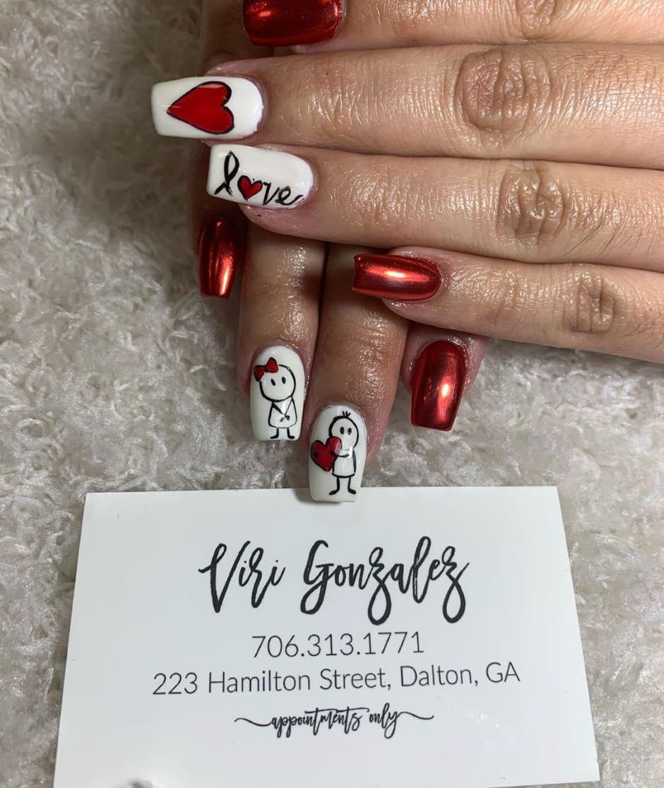 Unghie San Valentino 2020 gel rosse metallizzate