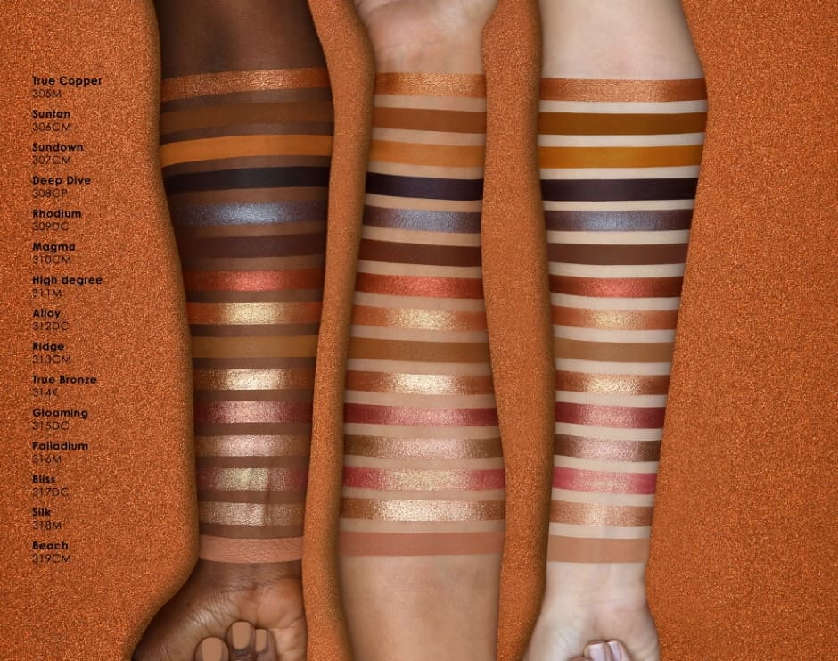Bronze Eyeshadow Palette N.D. Swatches